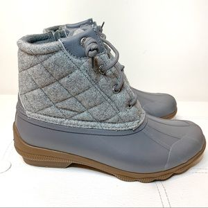 Sperry Syren Gulf Wool Quilted Grey Duck Boots